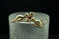 925 STERLING SILVER PINK CZ FLOWER AND SWIRL DOUBLE LEAF PIN BROOCH #18053