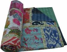 Indian Handmade Bohemian Bedding Floral Print Patchwork Cotton Kantha Quilt