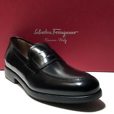 17942211914 Ferragamo Black Leather Fashion Penny Dress Loafers 12 D 45 Mens Casual  Moccasin