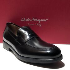 Ferragamo Black Leather Fashion Penny Dress Loafers 12 D 45 Mens Casual Moccasin