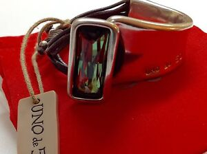 "NWT Uno de 50 Silvertone/Leather Bracelet w/ Green Crystal ""Aurora Borealis""6.5"""
