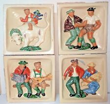 4 Antique Decorative Bavarian ceramic tiles Removed from damaged WW2 building