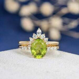 3Ct Oval Cut Peridotite Solitaire Women's Engagement Ring 14K Yellow Gold Finish