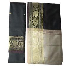 Sari indiano marrone beige broccato abito tradizionale Bindi donna poliestere