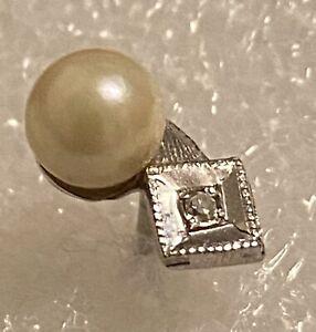 Antique Anson 14k White Gold Diamond & Akoya pearl Tie Tack