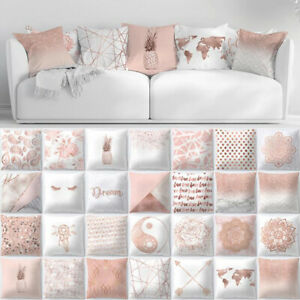 Throw Pillow Case Rose Gold Geometric Pillowcase Cushion Cover Sofa Home Decor