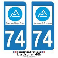 2 STICKERS AUTOCOLLANT PLAQUE IMMATRICULATION DEPT 74 Auvergne-Rhône-Alpes