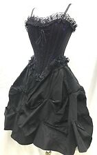 Gothic  2 Pcs Victorian Layer Skirt & Purple Lace Over Boned Corset Size M/12