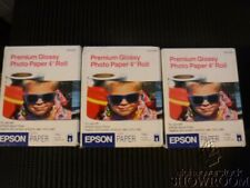 "3 New Sealed Box Genuine OEM Epson S041302 PREMIUM GLOSSY PHOTO PAPER 4"" x 26'"