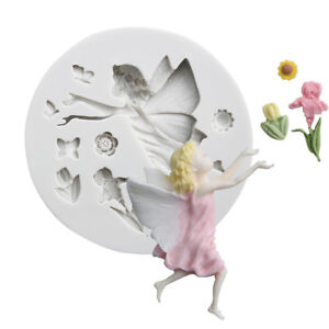 3D Fairy Angel Elf Silicone Fondant Mold Flower Girl Cake Chocolate Baking Mould
