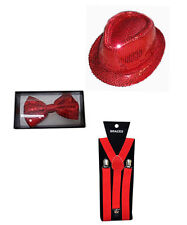 Red Sequin Hat Braces Sequin Bow Tie Set Sparkly Glitter Dicky Dickie Costume