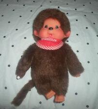 "Adorable Thumb Sucking Monchhichi Red Bib RARE 8"" Plush Soft Toy Stuffed Animal"
