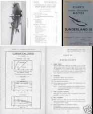 SHORT SUNDERLAND FLYING BOAT MANUALS mks I II III WWII RAF coastal command