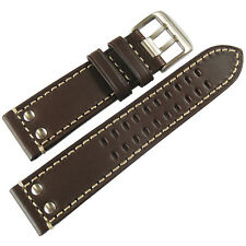 22mm Hadley-Roma MS915 Mens Brown Riveted Leather Field Watch Band Strap