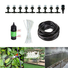 33ft Garden Patio Misting Cooling System Water Mister Nozzles Mist Sprinkler Kit