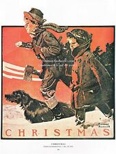 """Norman Rockwell print: """"THE CHRISTMAS TREE"""" 11"""" x 15"""" traditional Holiday"""