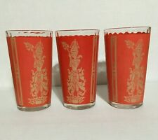 New ListingVintage 60s Red Gold Culver Libbey Glassware, 3 x 5 inch Tumblers. [I-3]