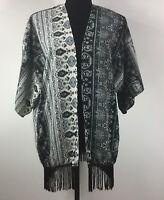 Polly Esther Women Kimono Top Fringe Open Front Short Sleeve Cardigan Sz M