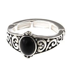 Onyx Adjustable Stretch Elastic Fashion Ring For Women Silver Black Gift Jewelry