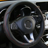 """Black & Red PU Leather Car Steering Wheel Cover 15""""/37 38CM Universal Good Grip"""