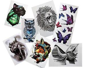 ***NEW*** Animals Bird Owl Fish Dragon Wolf Fox Temporary Tattoos - 49 DESIGNS!