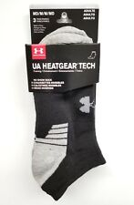 Under Armour 1303200 Men's No Show Socks (3 Pack) U325 Heatgear Tech Anti Odor :