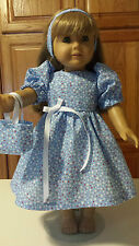 "18"" Doll Clothes  Dress, Tote Bag and Headband  Blue with White & Red Dots"