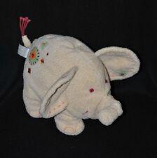 Peluche doudou éléphant HAPPY HORSE beige blanc cassé fleurs brodées 17 cm TTBE