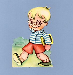 Vintage Valentine Card VALENTINE'S DAY School Boy with Glasses 1930s