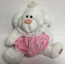Vintage 1986 Fisher Price Puffalumps White Bunny Rabbit w/ Pink Dress #8004
