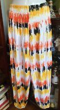 Boho Beach Festival Holiday Black Orange Yellow White Genie Hippy Pants Sz S