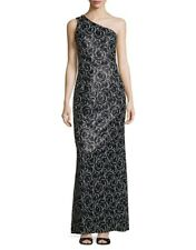 KARL LAGERFELD Women's Black Sequined One Shoulder Gown Dress Size 10 RRP £325