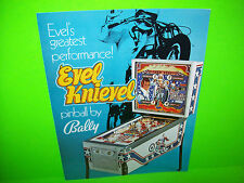 Bally Evel Knievel Original 1977 NOS Flipper Game Pinball Machine Foldout Flyer