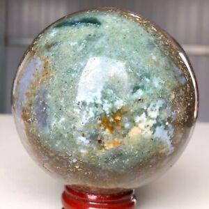 410g 67mm Natural Ocean Jasper Sphere Quartz Mineral specimens Healing Y662