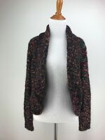 CHICOS Sweater 1 Black Rainbow Open Front Cropped Boucle S M Cardigan Marled