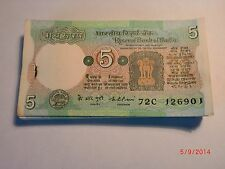 INDIA PAPER MONEY - FULL PACK - RS.5/- OLD NOTES - RARE - K. R. PURI - C -17