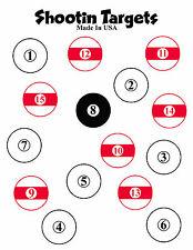 50 pool ball paper shooting targets 8.5x11 for rifle, handgun, bb or pellet gun