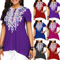 Women Short Sleeve T Shirt Swing Casual Summer Loose Blouse Tops Tunic Plus Size
