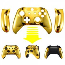 Chrome Gold Front Housing Shell W/ Side Rails For Xbox One S X Game Controller