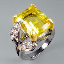 Handmade10ct+ Natural Lemon Quartz 925 Sterling Silver Ring Size 7.75/R110336