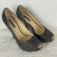 Tony Bianco Soft Grey Leather Platform Stiletto Peep Toe Heels Size 7.5 ~S1