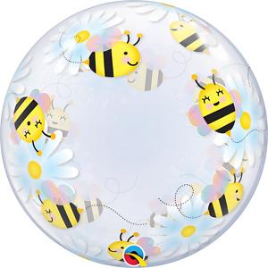 """Sweet Bees & Daises"" Designed Bubble Balloon- 24""/ 61 CM."