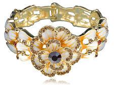 Enamel Drawn Topaz Crystal Rhinestone Spring Flower Bracelet Bangle Cuff Band