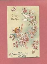Cute CHERUB & DOVES On Beautiful Embossed Vintage 1907 NEW YEAR Postcard