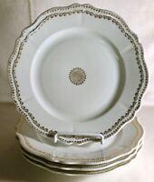 "4 O.& E.G. Royal Austria Gold Decorated Porcelain 9 1/2"" Dinner Plates"