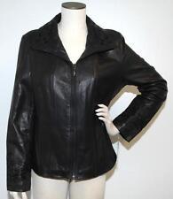 Jones New York Leather Jacket Womens Black Coat Size Large NWT $395 G5