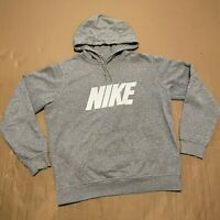 Men's Y2K Blue Tag Grey Nike Pullover Hoodie with Printed Spellout Logo Size L