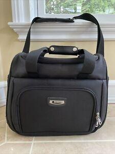 DELSEY LUGGAGE SHOULDER Duffle BAG 7 POCKETS BLACK EUC Black