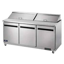 Arctic Air Ast72r Three Door Refrigerated Sandwich Prep Table Holds 18 Pans