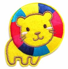 Lion Iron On Patch- Embroidered Appliques Kids Animal Badge Safari Zoo Sew Craft